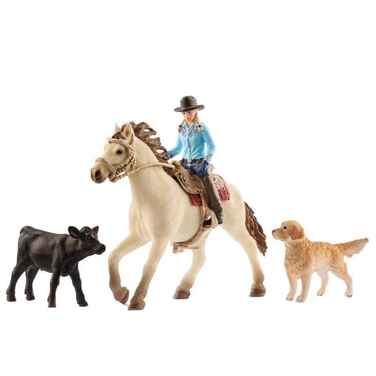 Schleich 42419 set Westernová jezdkyně se zvířátky