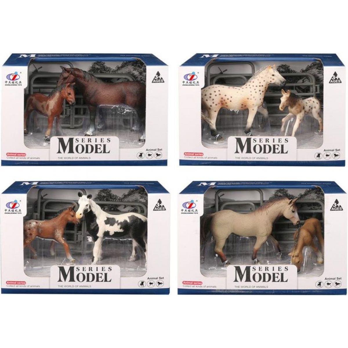 EP Line Series Model Svět zvířat Sada 1 Kůň a hříbě tmavě hnědý koně - flekatý koně
