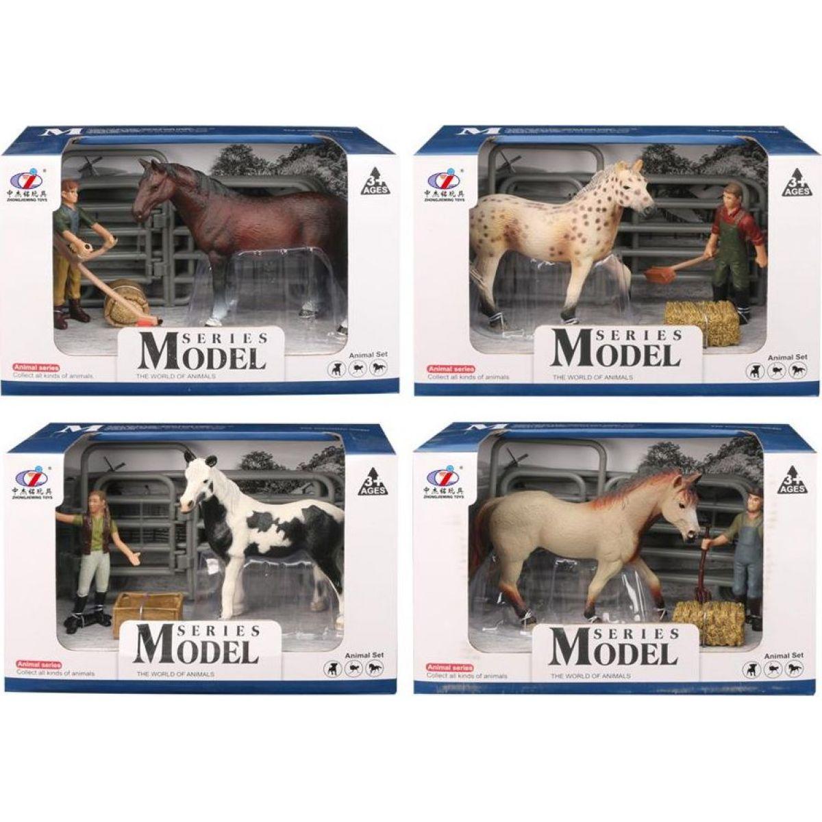 EP Line Series Model Svět zvířat Sada 1 Kůň s figurkou černo-bílý kůň - flekatý kůň