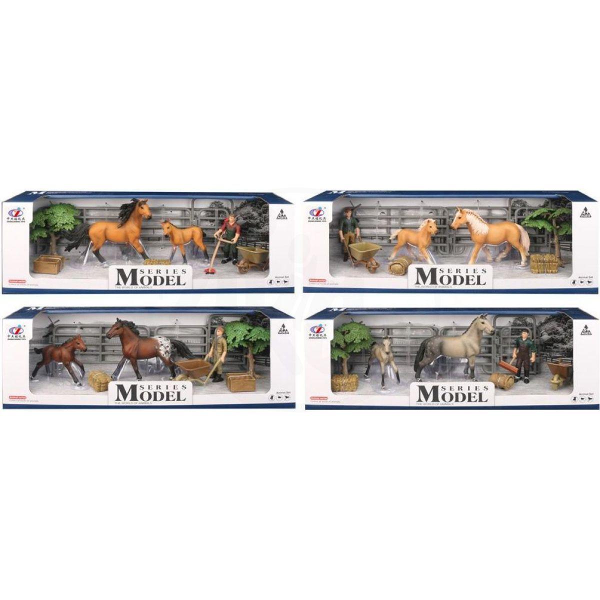 EP Line Series Model Svět zvířat Sada 1 s figurkou, koněm a hříbětem - šedý s copánkem