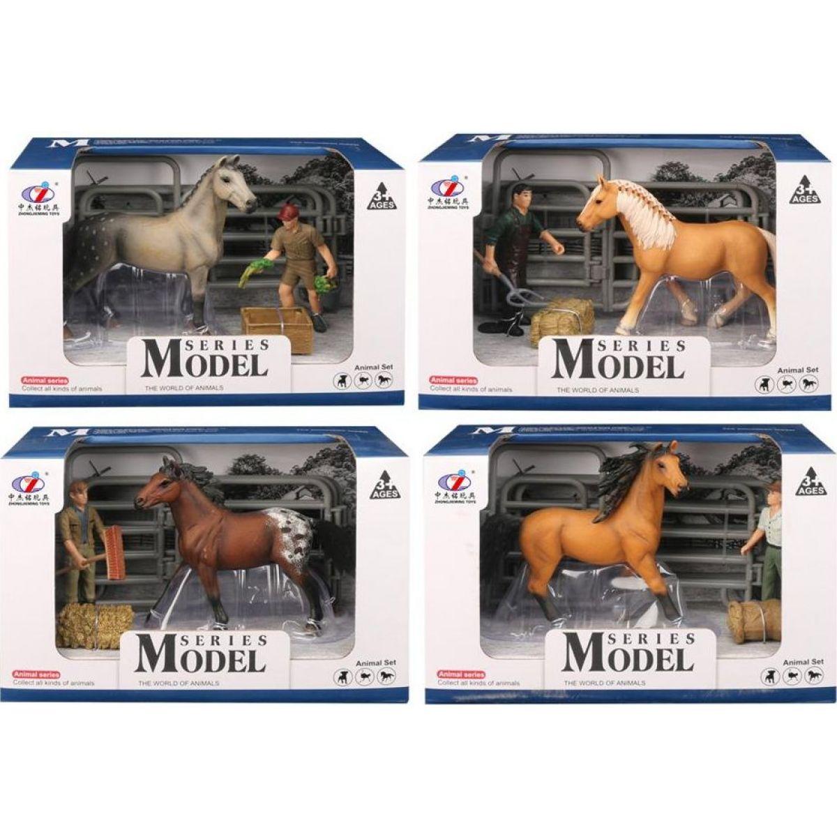 EP Line Series Model Svět zvířat Sada 2 Kůň s figurkou hnědý kůň - světle hnědý kůň s černou hřívou