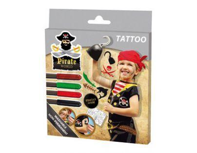 SES 09662 - Tetovací fixy pirát s předlohou