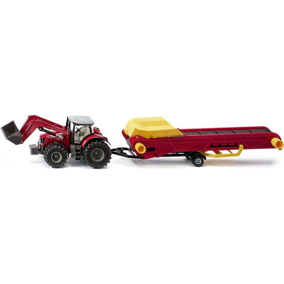 Siku 1996 Traktor MASSEY FERGUSON 8690 s čelním nakladačem a dopravníkem 1:50