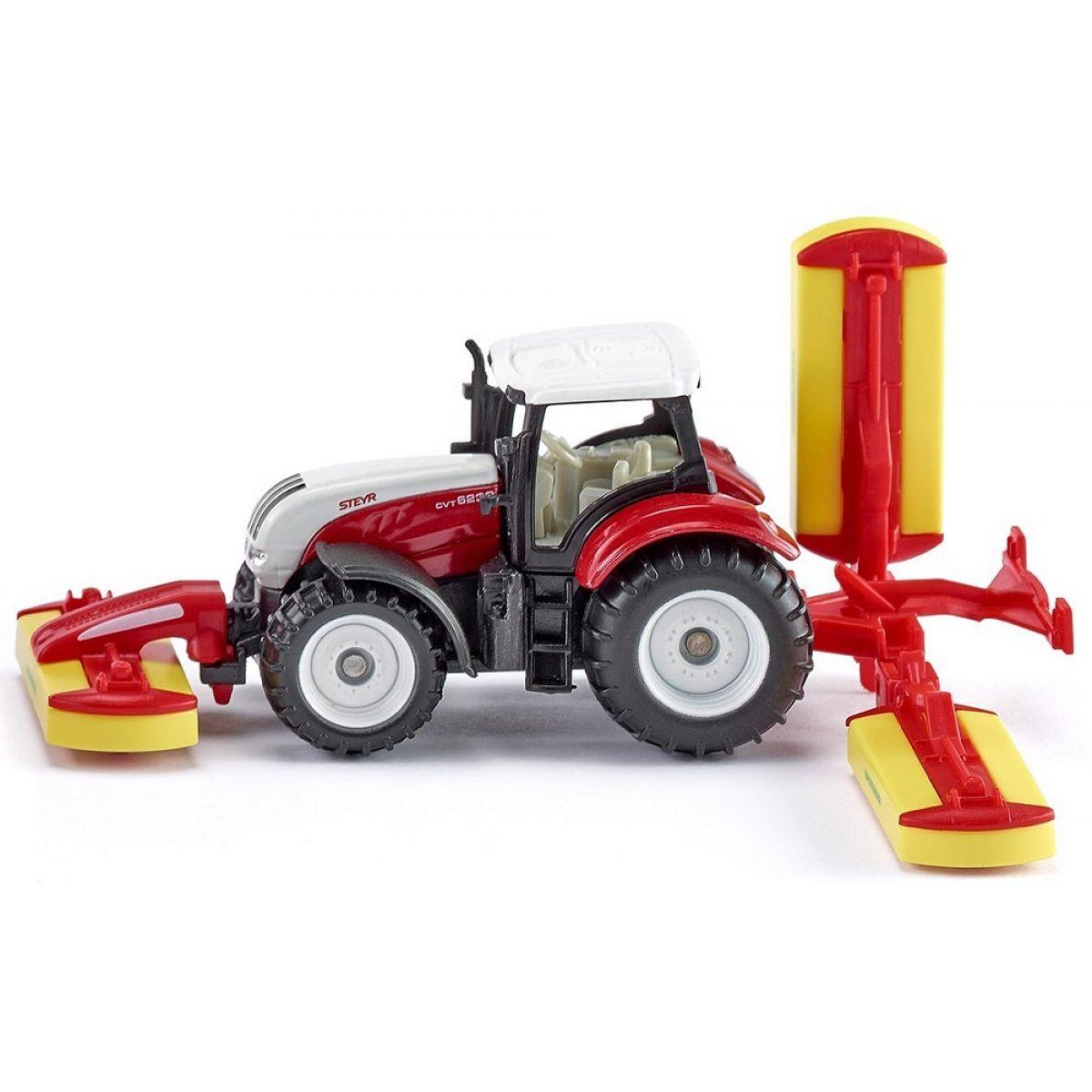 SIKU Traktor Steyr se sekacími nástavci 1:87 SIKU
