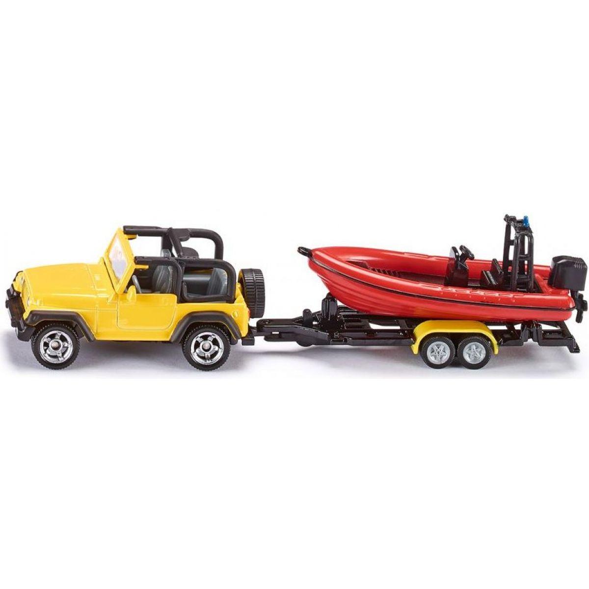 Siku 1658 Auto JEEP WRANGLER s přívěsem a člunem 1:87