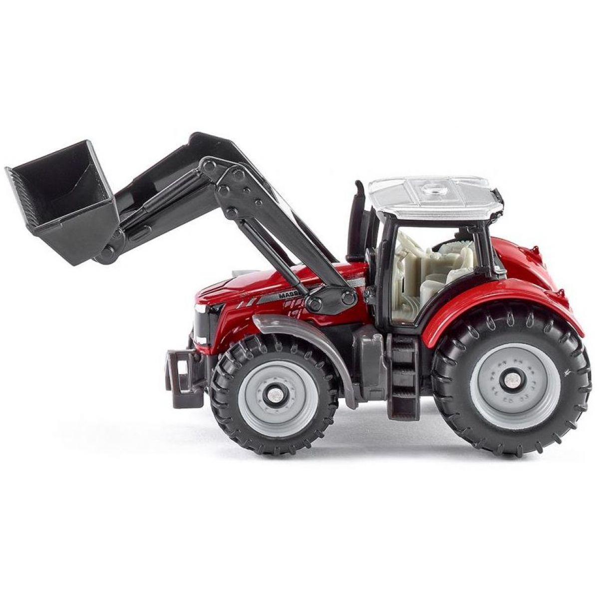 Traktor massey Ferguson s předním nakladačem a vyměnitelnými nástavci 1:32 SIKU