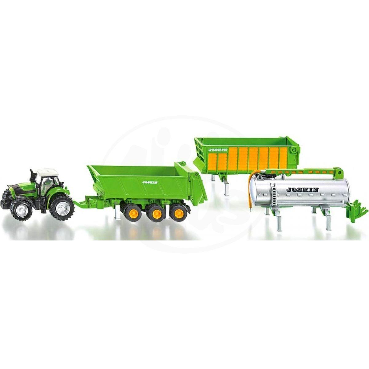 Siku Farmer Traktor Deutz se sadou přívěsů Joskin 1:87