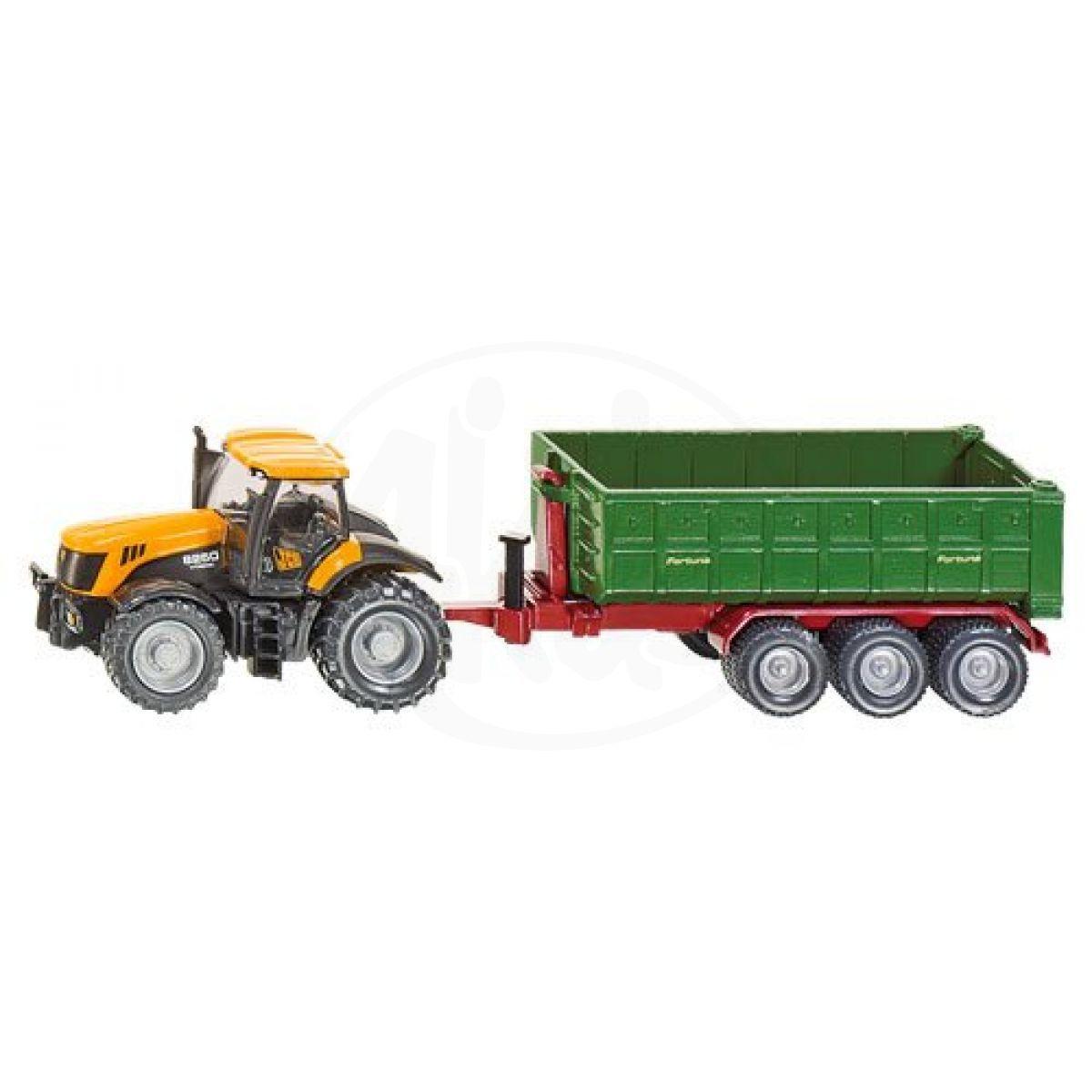 SIKU Farmer 1855 - Traktor JCB Fasttrac 8250 s kontejnerovým přívěsem
