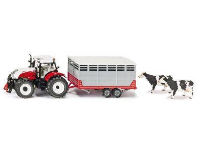 Siku Farmer  Traktor Steyr s vlekem na přepravu zvířat