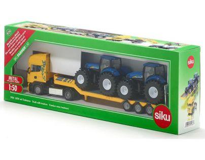 Siku Farmer Scania s přívěsem a 2 traktory New Holland T7070 1:50