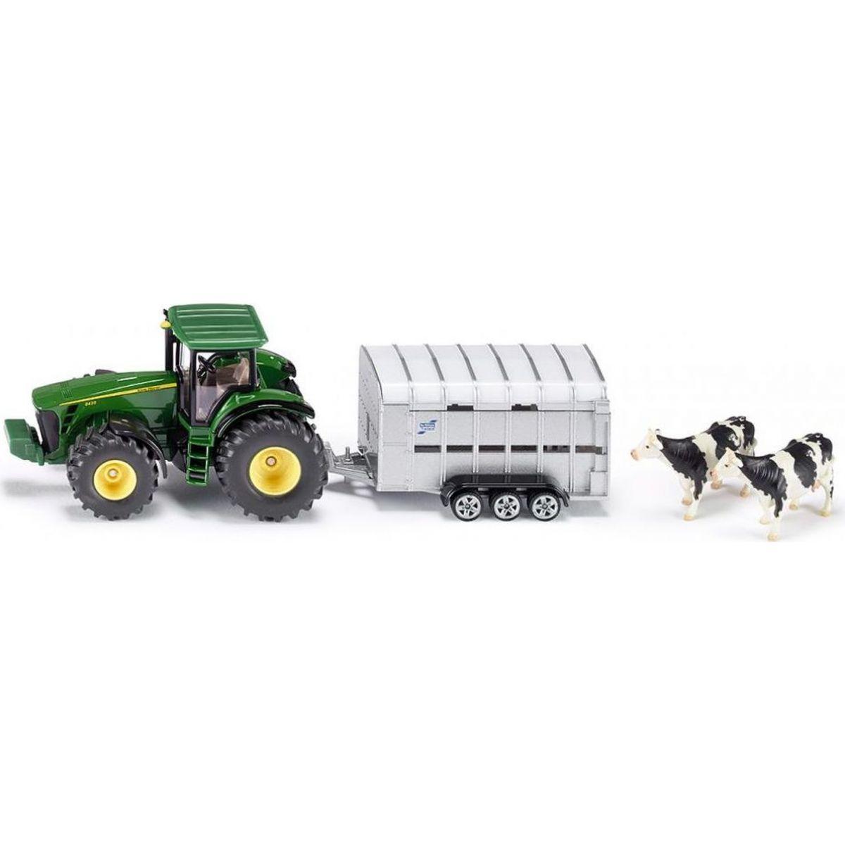 SIKU John Deere Super Traktor s přívěsem pro přepravu dobytka vč 2 krav 1:50