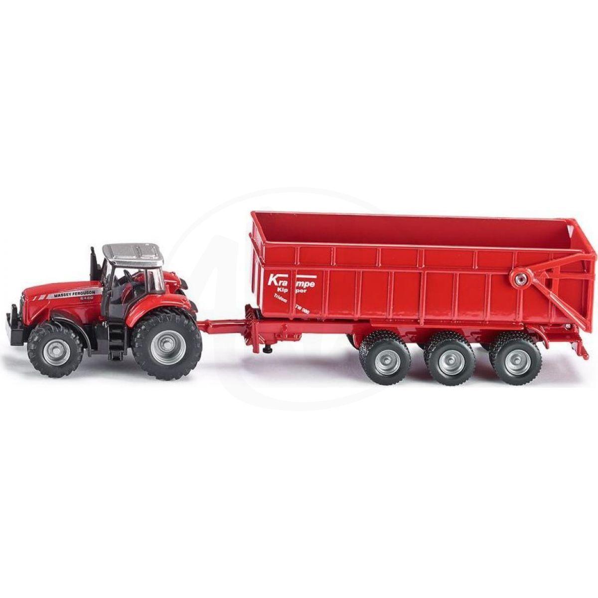 Siku Farmer Traktor Massey Ferguson s přívěsem 1:87