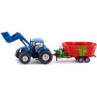 Siku Farmer traktor New Holland s předním nakladačem a vlekem 1:50