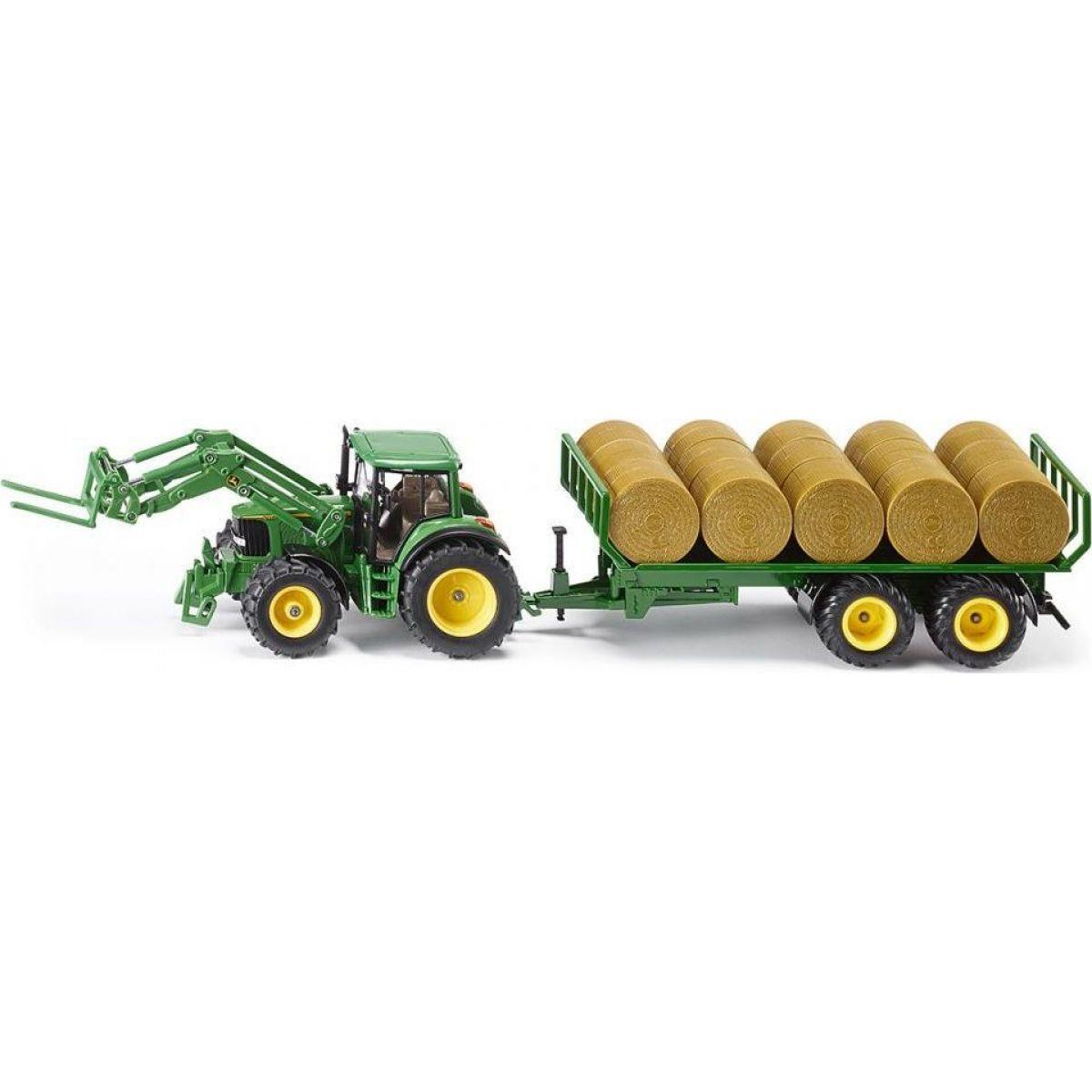 Siku Farmer Traktor s přívěsem na kulaté balíky 1:32 SIKU