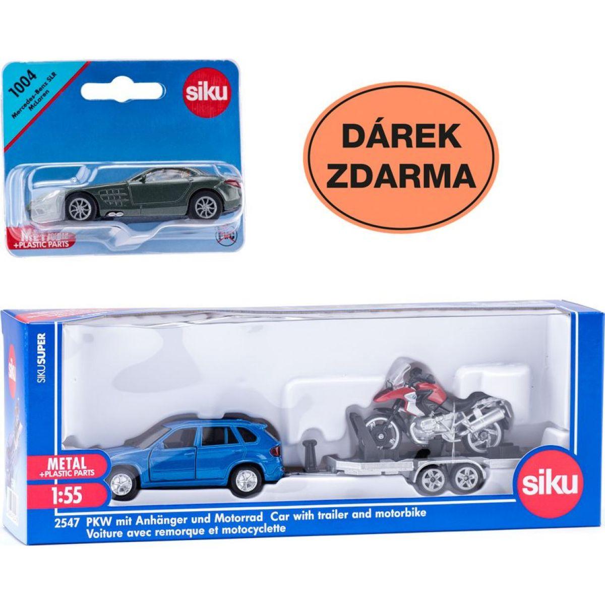 Siku Super Auto s vlekem a motorkou Dárek zdarma
