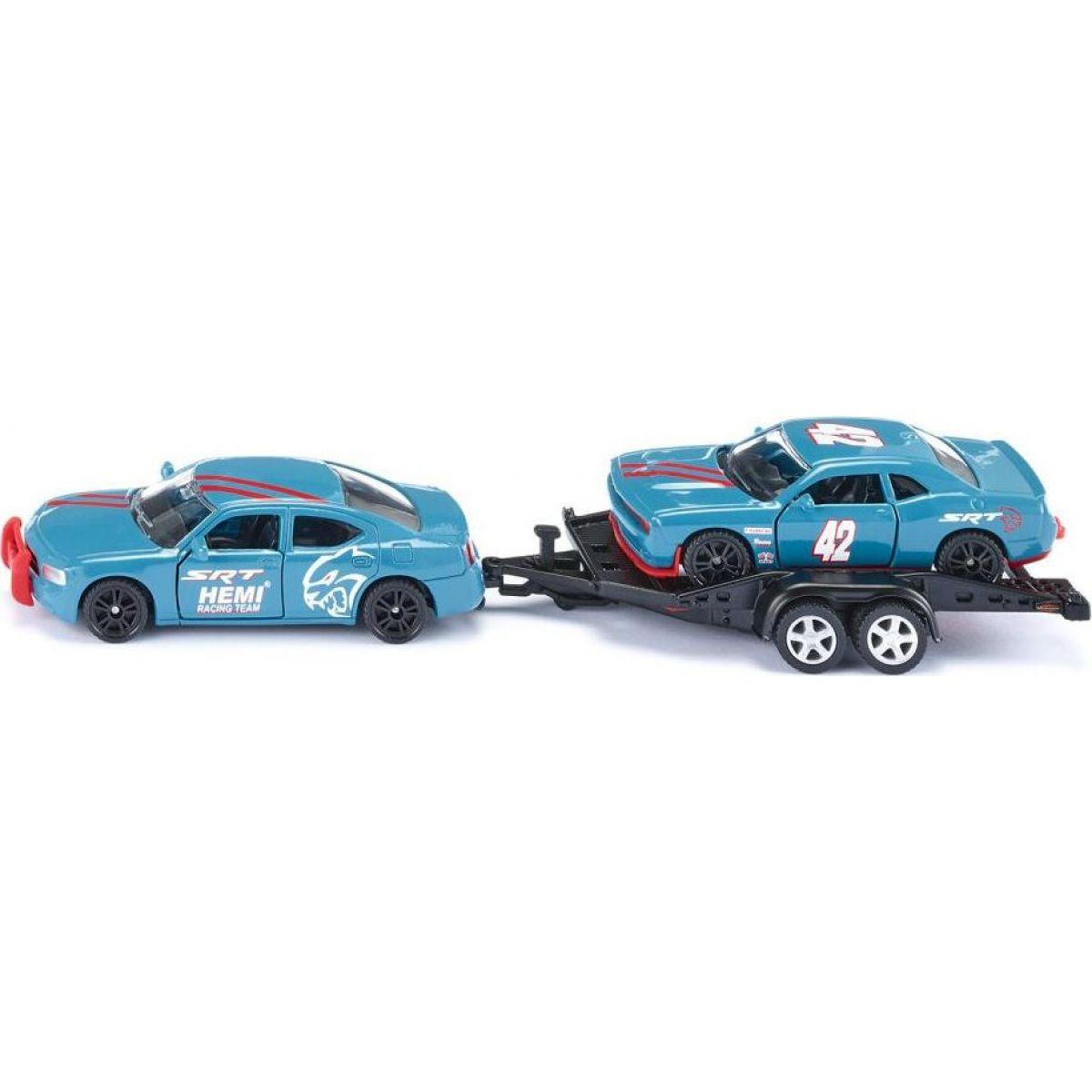 Siku super 2565 Dodge Charger so závodným autom na vleku