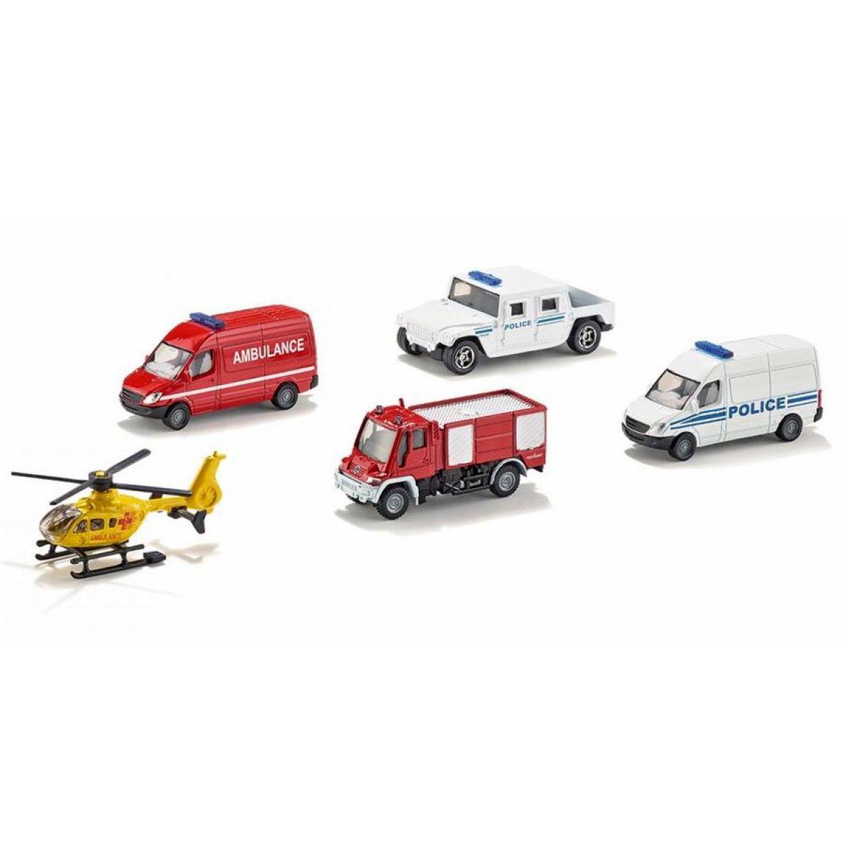 SIKU Sada 4 auta a 1 helikoptéra v sadě 6289