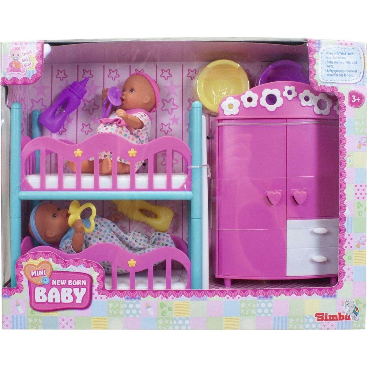 Simba Mini New Born Baby Dětský pokoj a 2 panenky