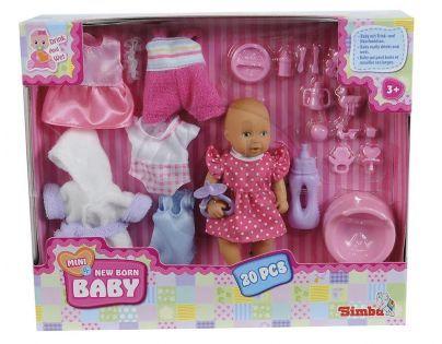 Mini New Born Baby Panenka pije a čůrá se sadou oblečení