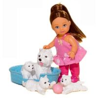 Simba Panenka Evička s domácími mazlíčky Bílá štěňátka