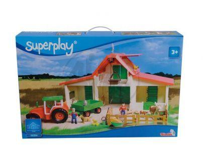 Simba S 4353728 - Statek se zvířaty + traktor s přívěsem
