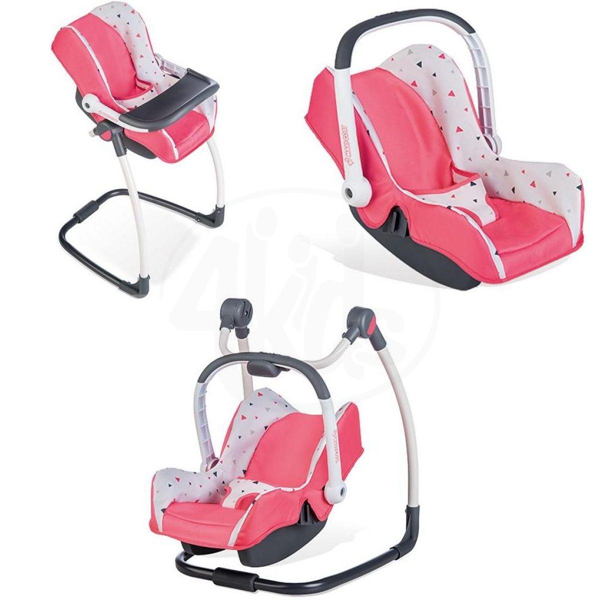 Smoby 3 v 1 Autosedačka a židlička Maxi Cosi pro panenky