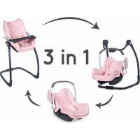 Smoby 3v1 Autosedačka a židlička Maxi Cosi Quinny pro panenky světle růžová