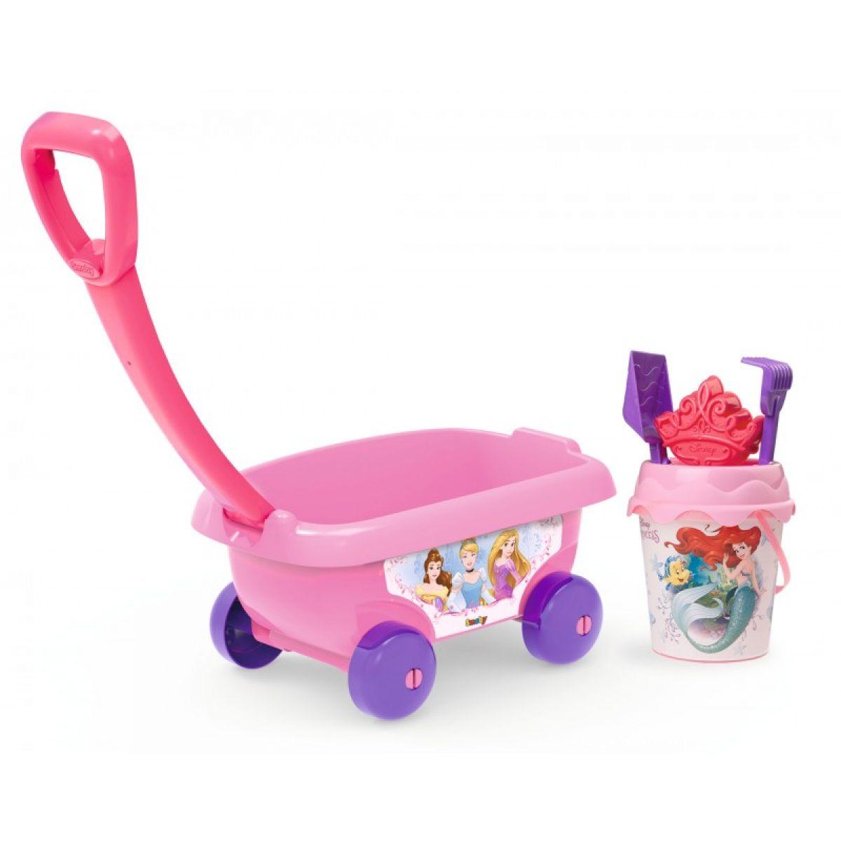 Smoby dětský vozík na tahání Disney Princezny s kbelík setem růžový