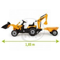 Smoby Šlapací traktor Max s bagrem a vozíkem 3