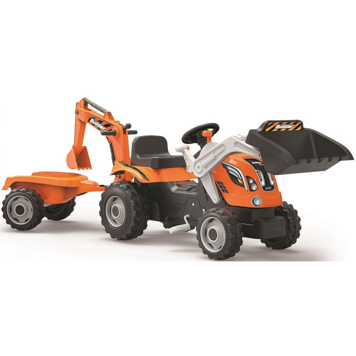 Smoby Šlapací traktor Builder Max s bagrem a vozíkem oranžový