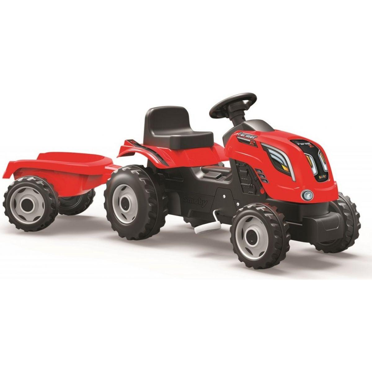 Smoby Šlapací traktor Farmer XL červený s vozíkem Smoby