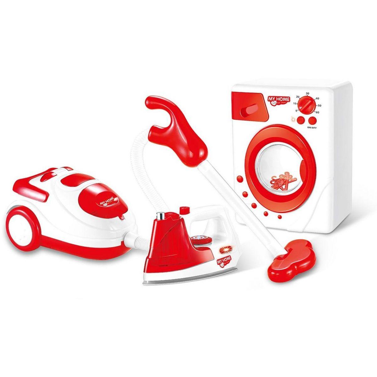 Súprava domácich spotrebičov na batérie žehlička, práčka a vysavač