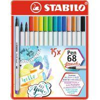 Stabilo Pen 68 brush 15 ks kovový box