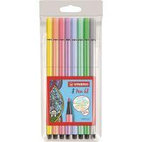 Stabilo Pen 68 pastel Pouzdro plast 8 ks
