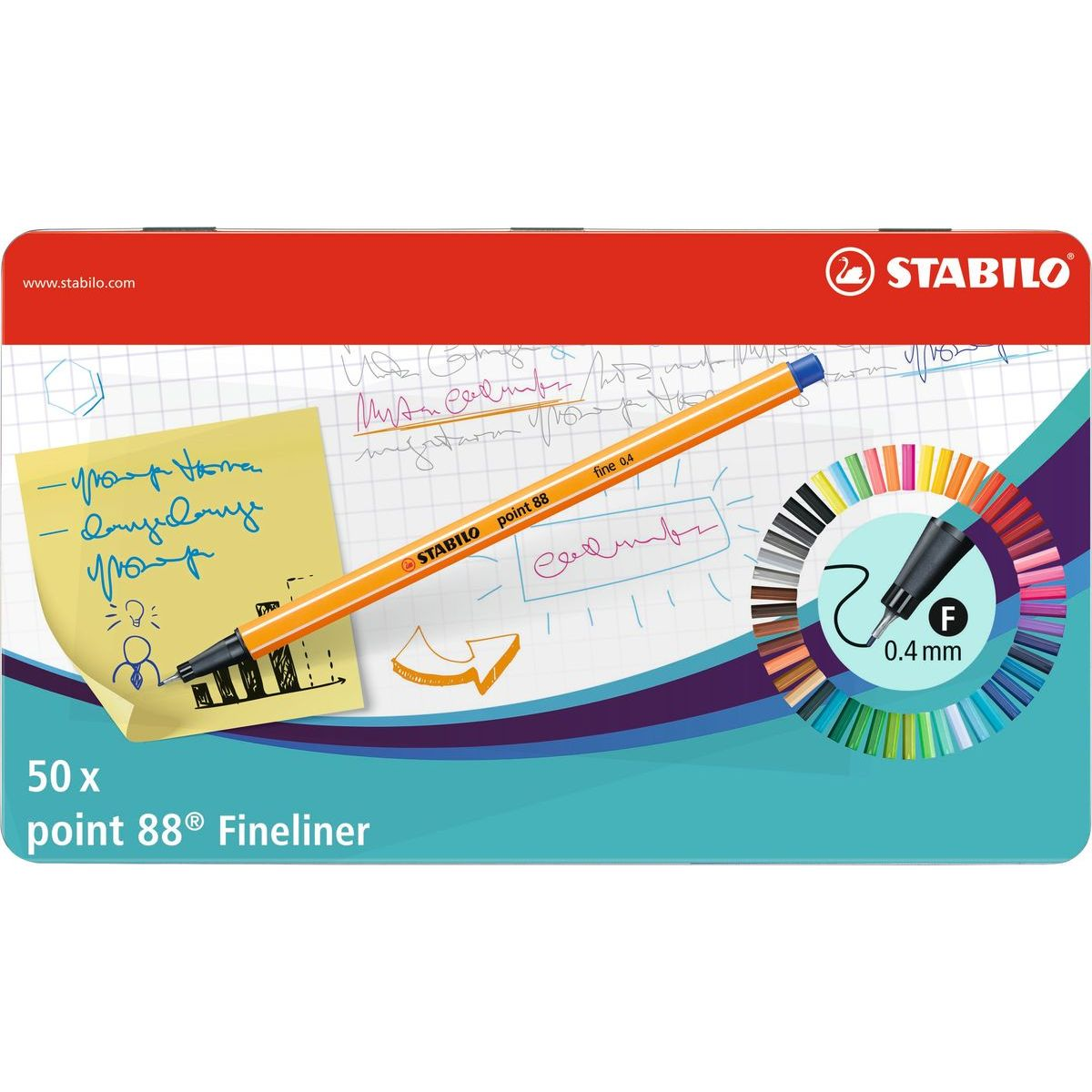 Stabilo point 88 50 ks metal box