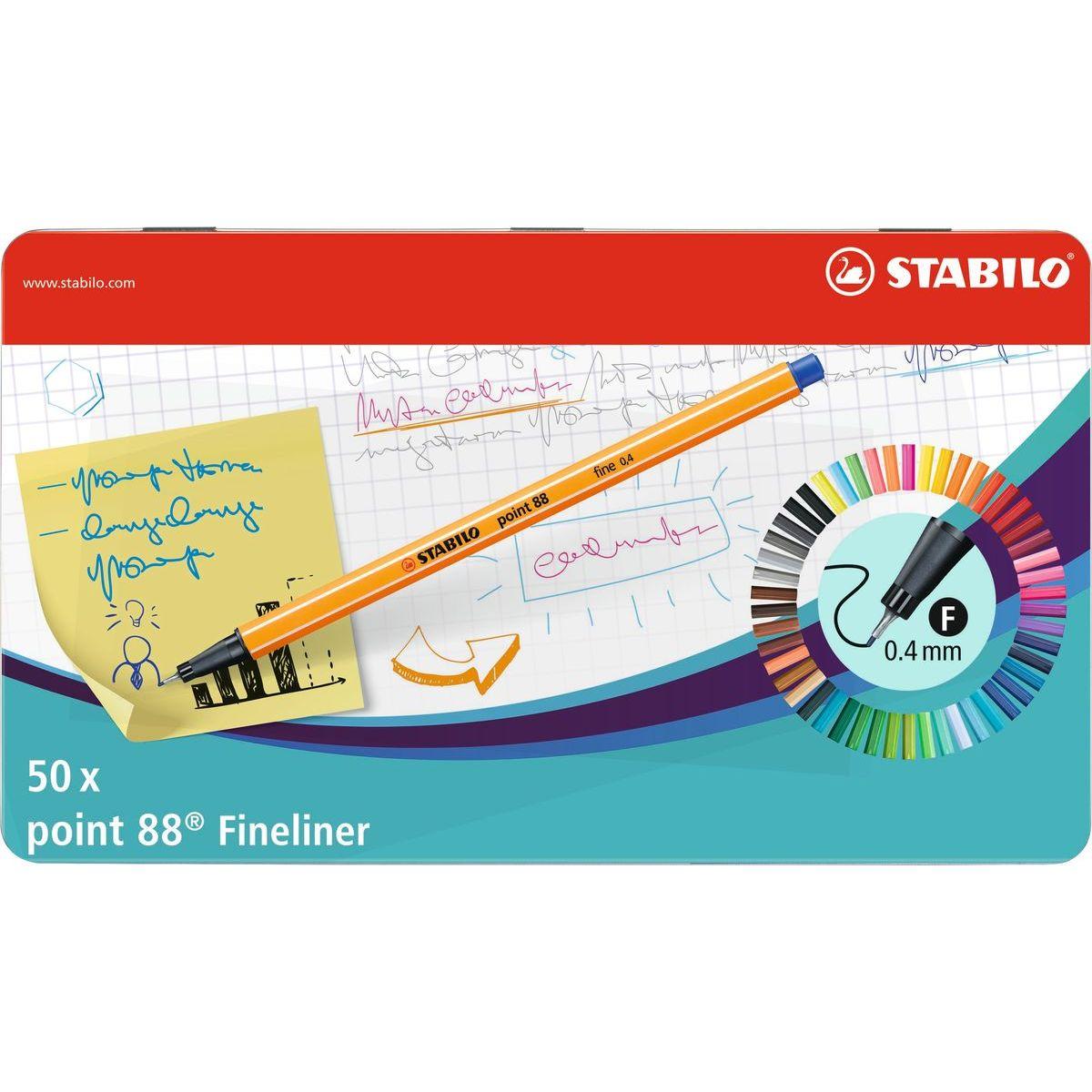 Stabilo point 88 50 ks metal box
