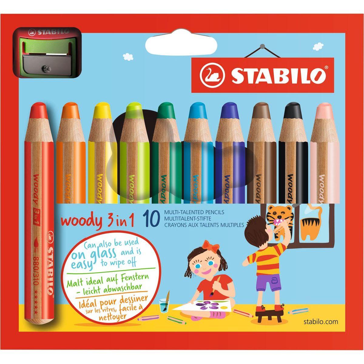 STABILO Barevná pastelka Woody 3v1 pastelka vodovka voskovka Pouzdro 10ks + ořezávátko