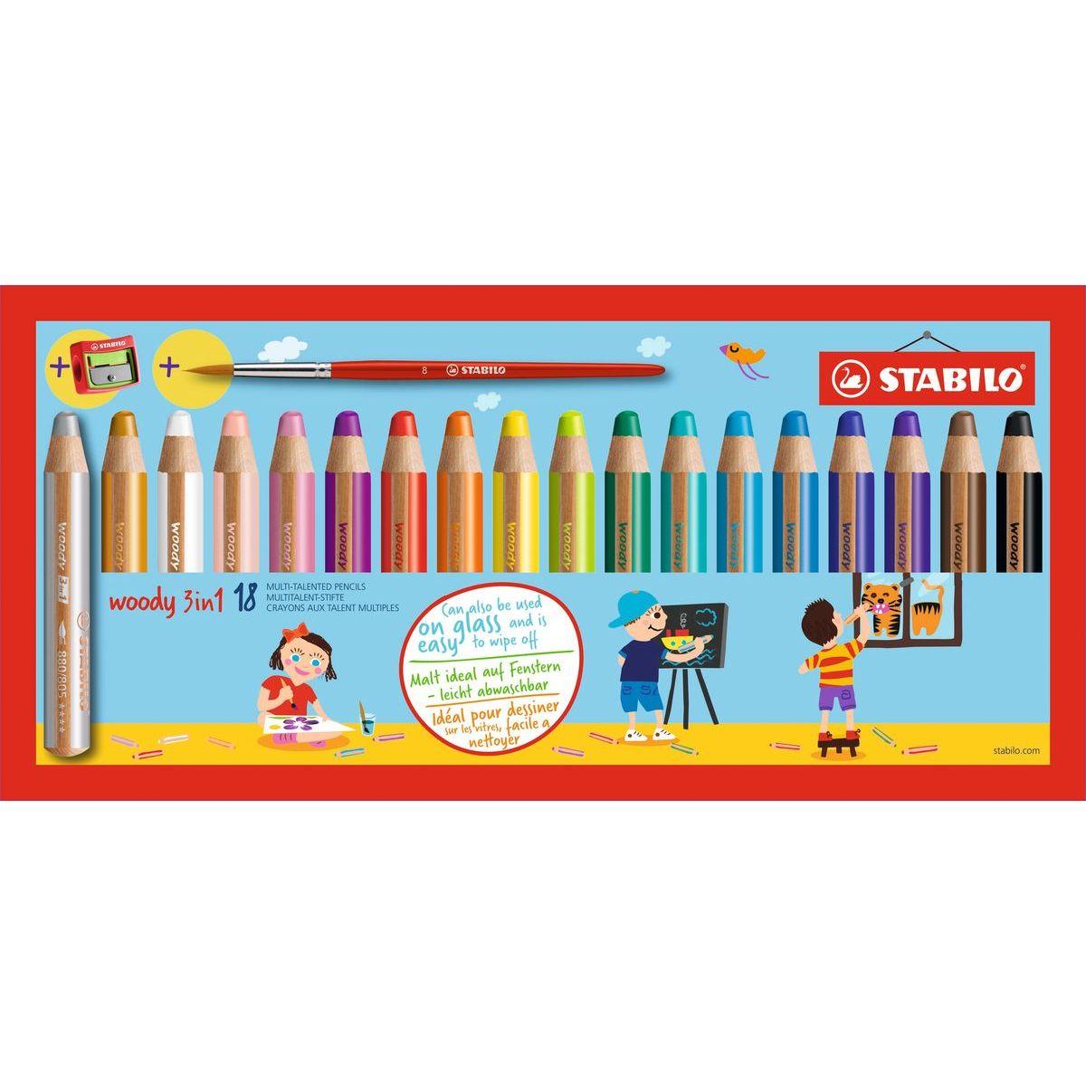 Stabilo Woody 3 v 1 barevná pastelka Pouzdro s ořezávátkem a štětcem 18 ks