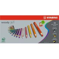 Stabilo Woody 3 v 1 farebná pastelka Púzdro so strúhatkom 18 ks