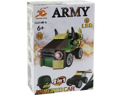 Stavebnice Armáda s LED kostkou 2v1 - Armored Car