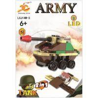 Stavebnice Armáda s LED kostkou 2v1 - Tank