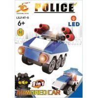 Stavebnice Policie s LED kostkou 2v1 Armored Car 42 dílků