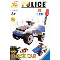 Stavebnice Policie s LED kostkou 2v1 - Chase Car