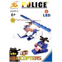 Stavebnice Policie s LED kostkou 2v1 Helicopters 33 dílků