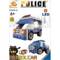 Stavebnice Policie s LED kostkou 2v1 Patrol Car 36 dílků