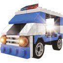 Stavebnice Policie s LED kostkou 2v1 - Patrol Car 2
