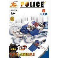 Stavebnice Policie s LED kostkou 2v1 Speedboat 25 dílků