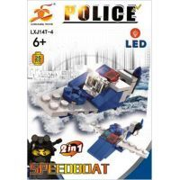 Stavebnice Policie s LED kostkou 2v1 - Speedboat