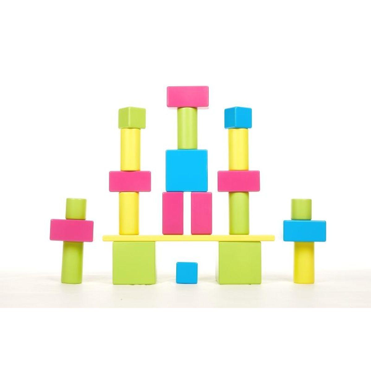 PONY Základní sada barevných dřevěných kostek
