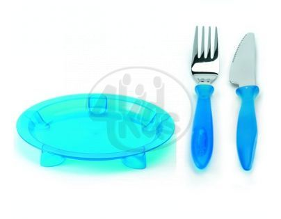 Steady talíř mělký, nůž & vidlička Blue